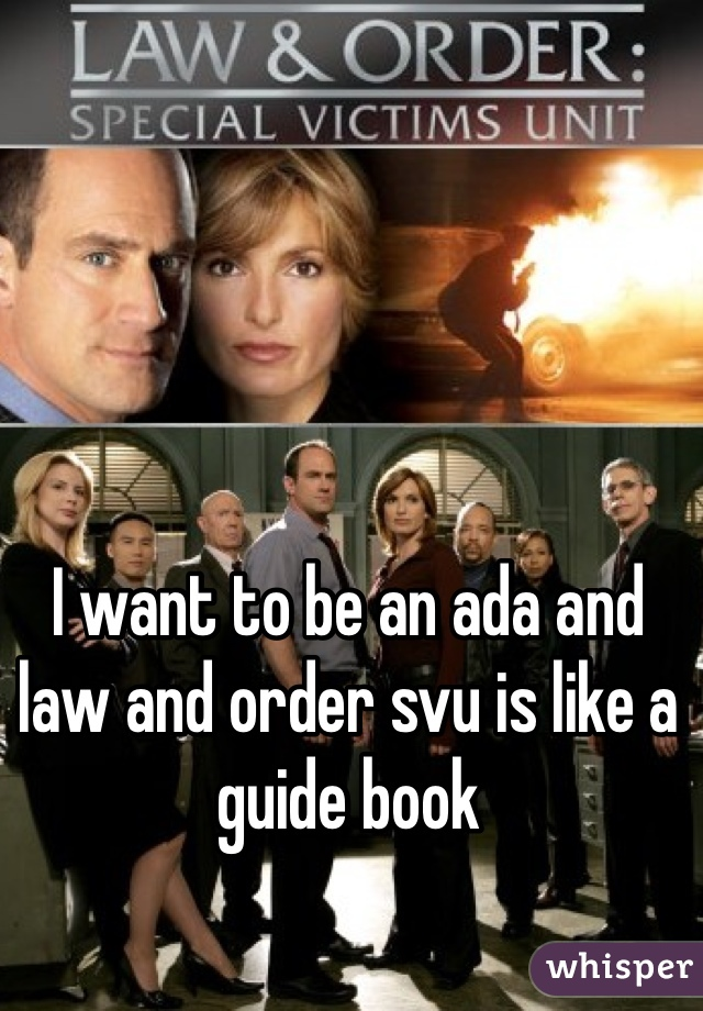 I want to be an ada and law and order svu is like a guide book