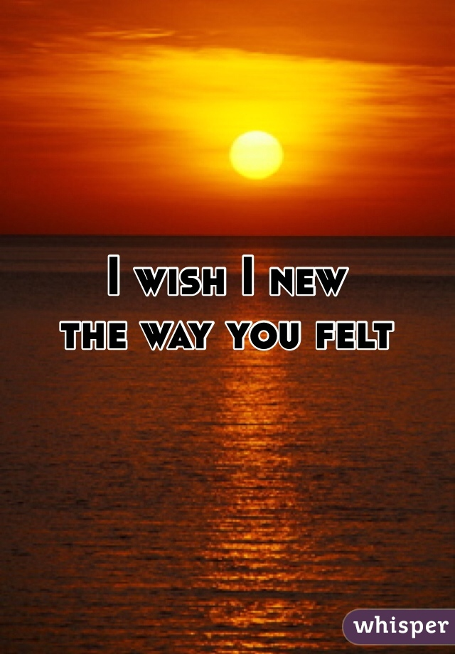 I wish I new the way you felt