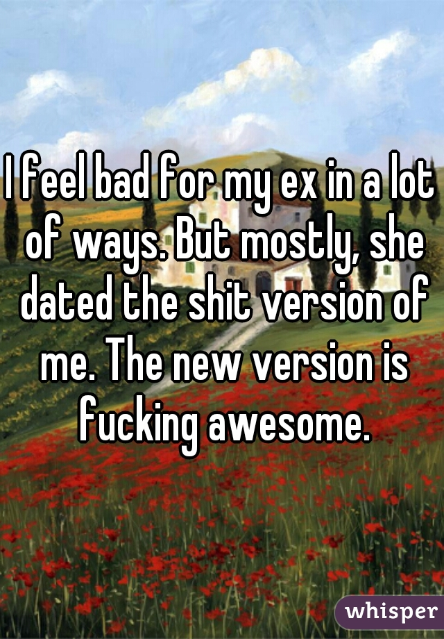 I feel bad for my ex in a lot of ways. But mostly, she dated the shit version of me. The new version is fucking awesome.