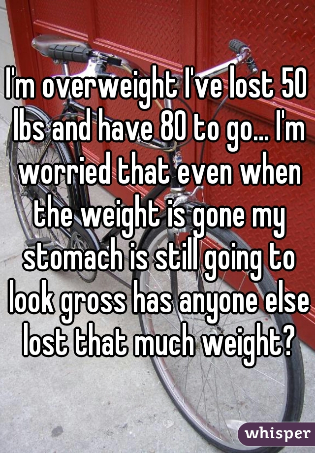 I'm overweight I've lost 50 lbs and have 80 to go... I'm worried that even when the weight is gone my stomach is still going to look gross has anyone else lost that much weight?