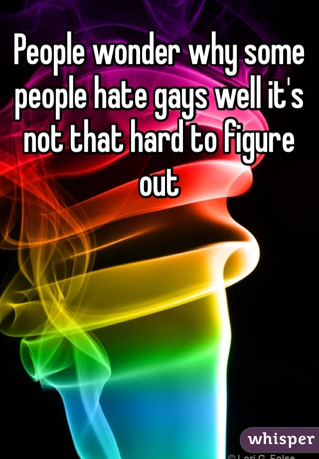 People wonder why some people hate gays well it's not that hard to figure out