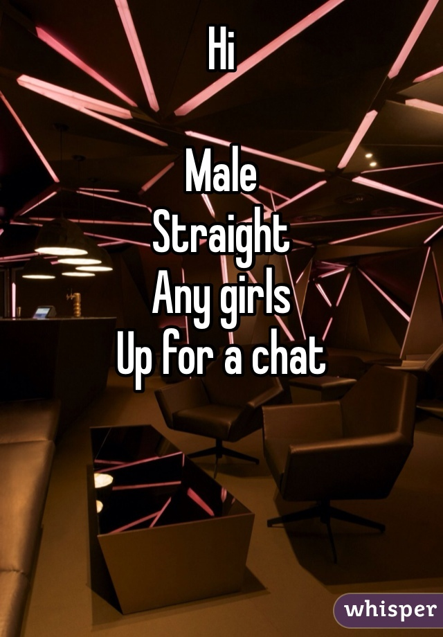 Hi  Male  Straight Any girls  Up for a chat