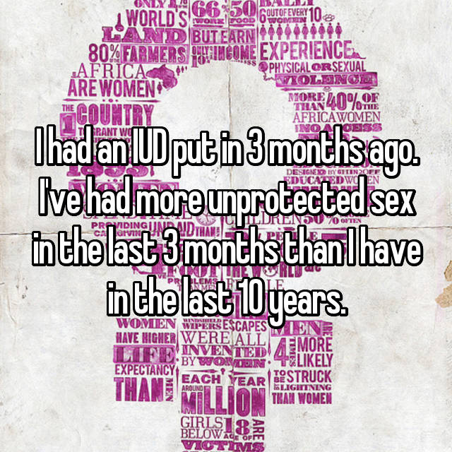 I had an IUD put in 3 months ago. I've had more unprotected sex in the last 3 months than I have in the last 10 years.