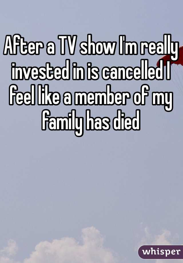After a TV show I'm really invested in is cancelled I feel like a member of my family has died