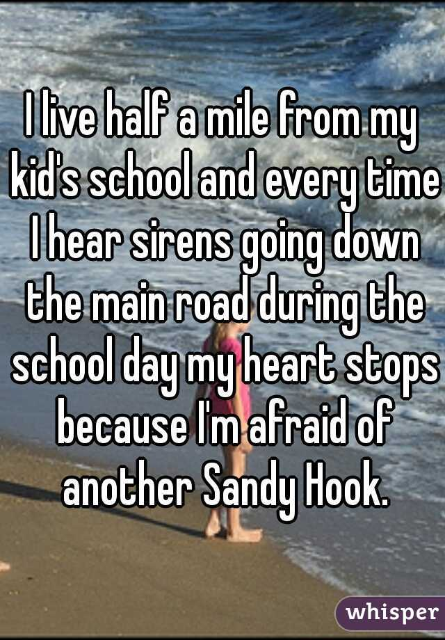 I live half a mile from my kid's school and every time I hear sirens going down the main road during the school day my heart stops because I'm afraid of another Sandy Hook.