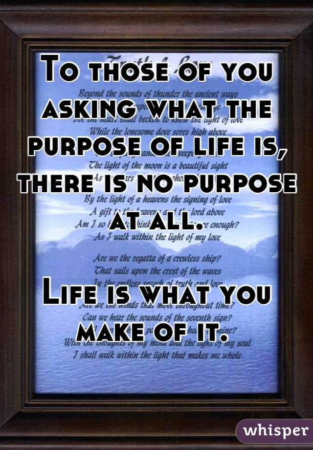 To those of you asking what the purpose of life is, there is no purpose at all.   Life is what you make of it.