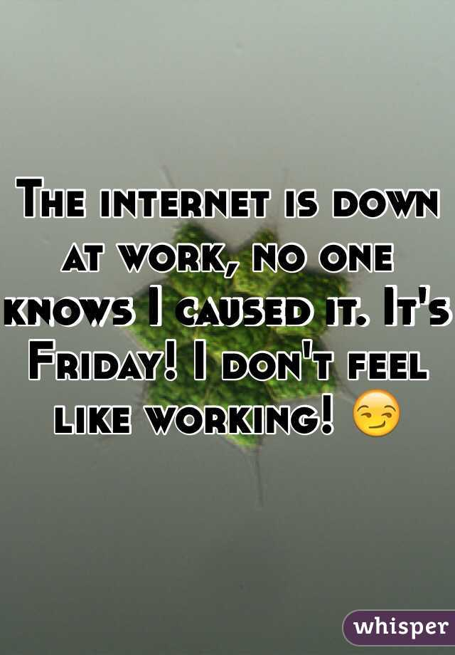 The internet is down at work, no one knows I caused it. It's Friday! I don't feel like working! 