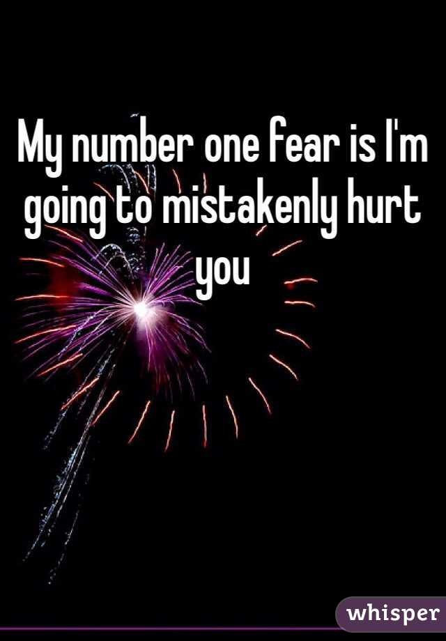My number one fear is I'm going to mistakenly hurt you