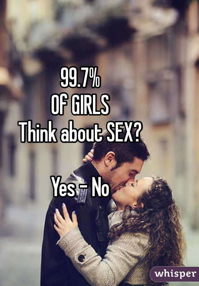 99.7%  Of GIRLS  Think about SEX?   Yes - No
