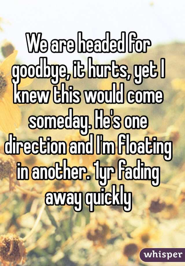 We are headed for goodbye, it hurts, yet I knew this would come someday. He's one direction and I'm floating in another. 1yr fading away quickly