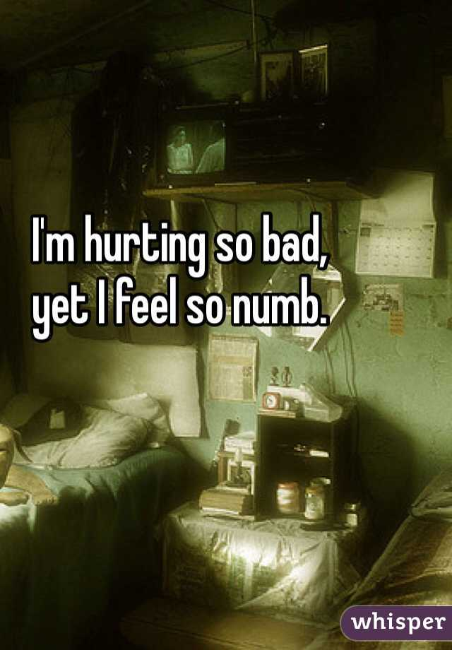 I'm hurting so bad,  yet I feel so numb.