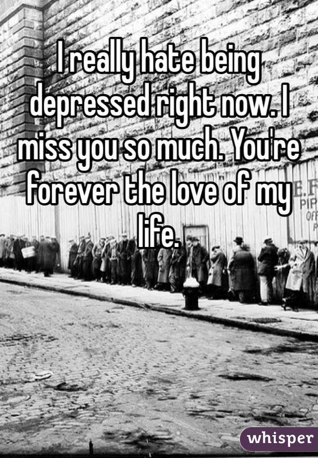 I really hate being depressed right now. I miss you so much. You're forever the love of my life.
