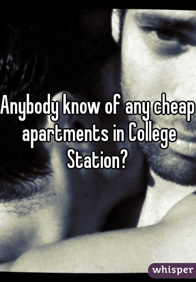 Anybody know of any cheap apartments in College Station?