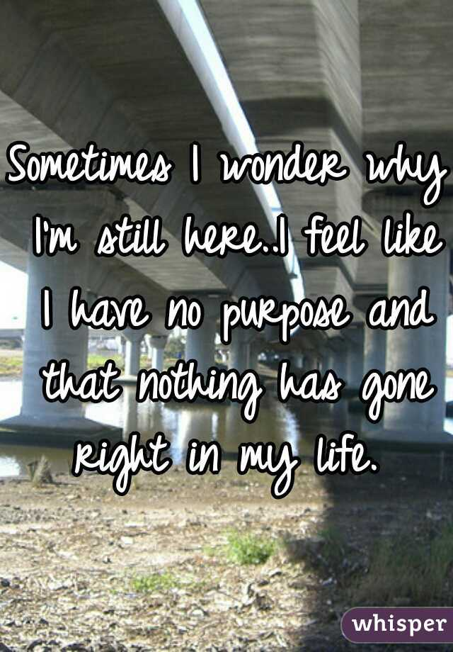 Sometimes I wonder why I'm still here..I feel like I have no purpose and that nothing has gone right in my life.