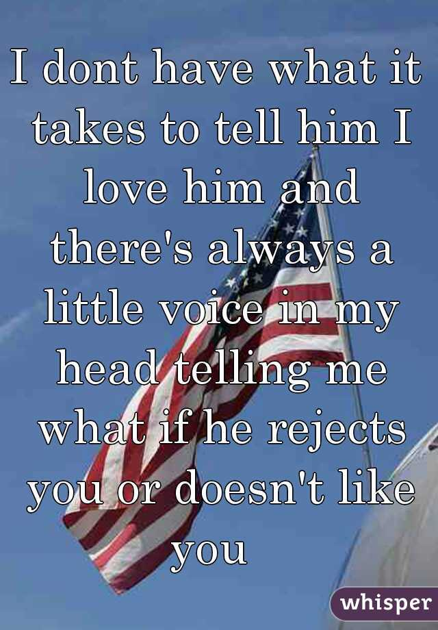 I dont have what it takes to tell him I love him and there's always a little voice in my head telling me what if he rejects you or doesn't like you