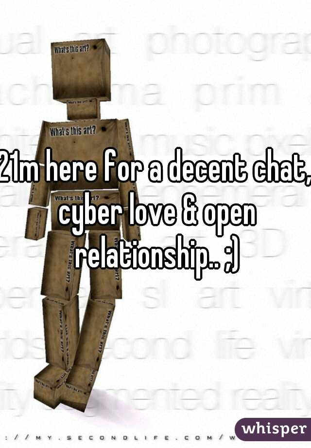 21m here for a decent chat, cyber love & open relationship.. ;)