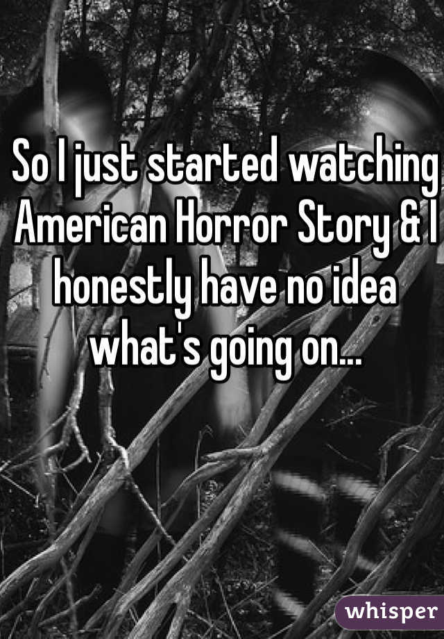 So I just started watching American Horror Story & I honestly have no idea what's going on...