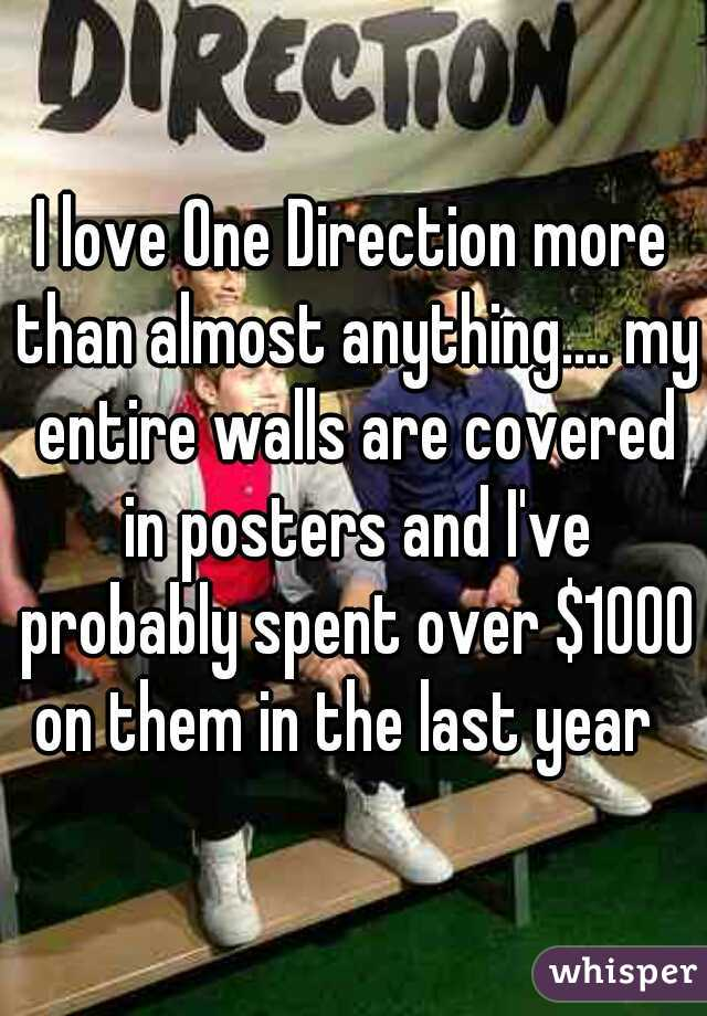 I love One Direction more than almost anything.... my entire walls are covered in posters and I've probably spent over $1000 on them in the last year