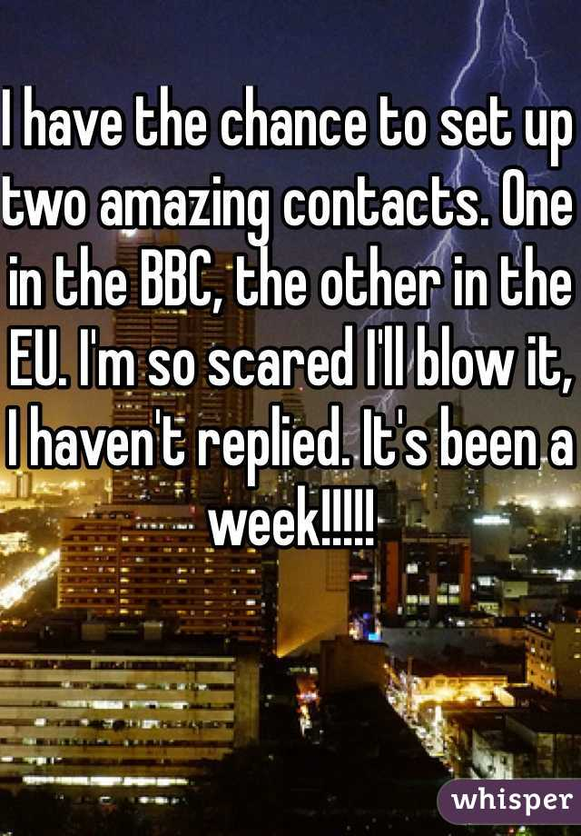 I have the chance to set up two amazing contacts. One in the BBC, the other in the EU. I'm so scared I'll blow it, I haven't replied. It's been a week!!!!!