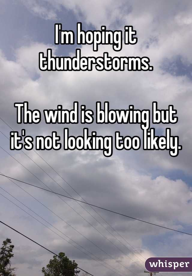 I'm hoping it thunderstorms.   The wind is blowing but it's not looking too likely.