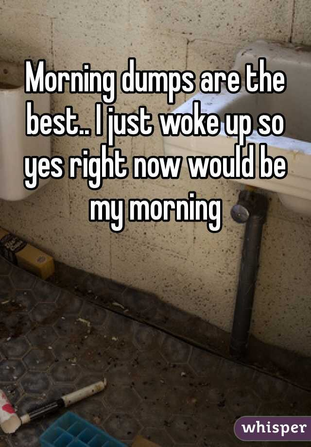 Morning dumps are the best.. I just woke up so yes right now would be my morning