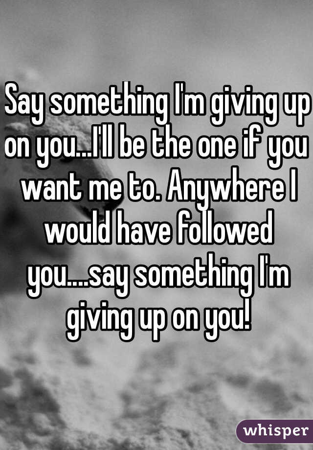 Say something I'm giving up on you...I'll be the one if you want me to. Anywhere I would have followed you....say something I'm giving up on you!