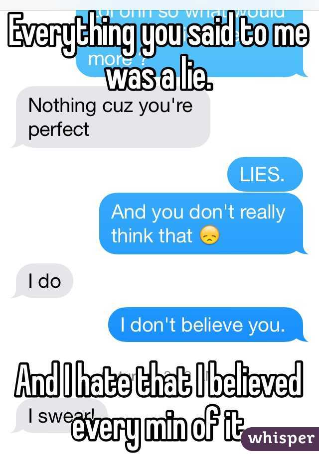 Everything you said to me was a lie.        And I hate that I believed every min of it