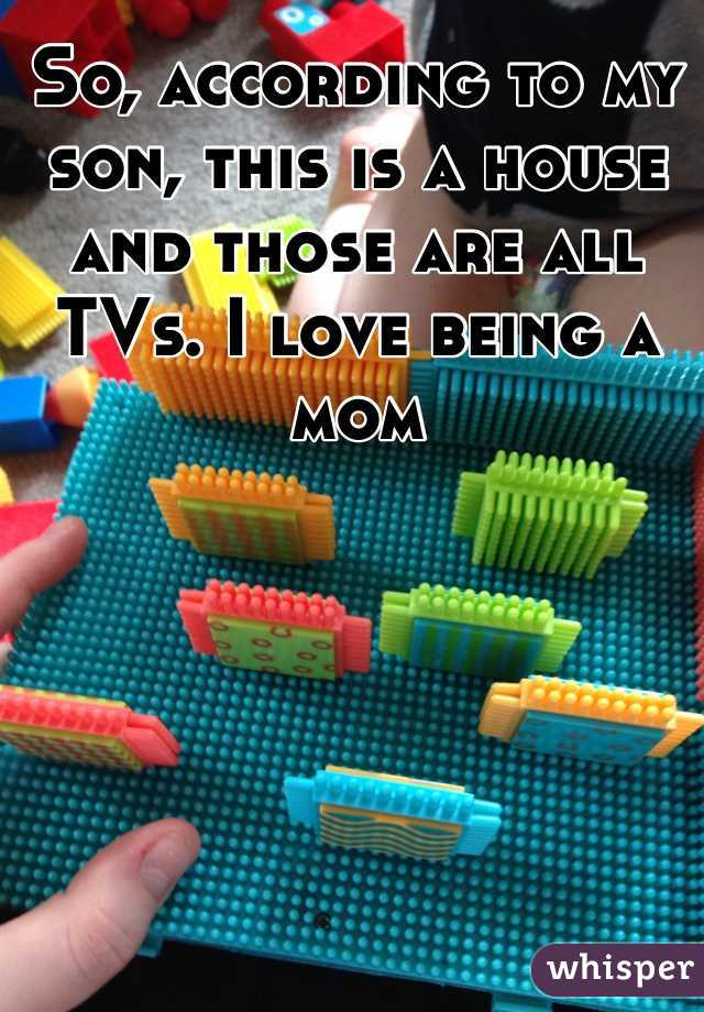 So, according to my son, this is a house and those are all TVs. I love being a mom