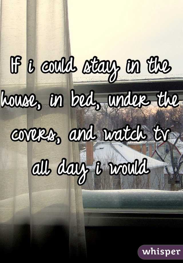 If i could stay in the house, in bed, under the covers, and watch tv all day i would