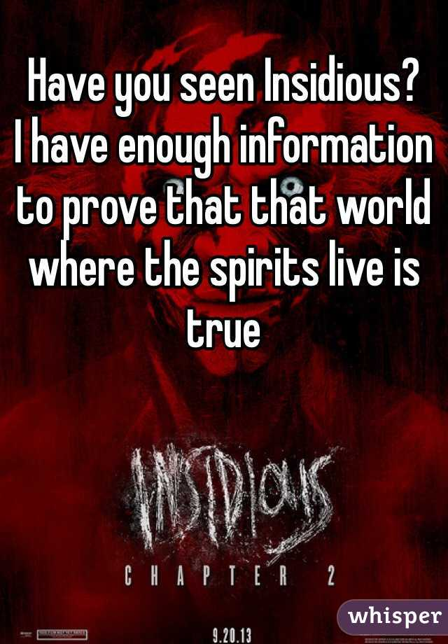 Have you seen Insidious?  I have enough information to prove that that world where the spirits live is true