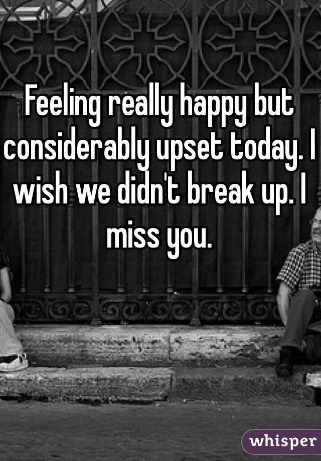 Feeling really happy but considerably upset today. I wish we didn't break up. I miss you.