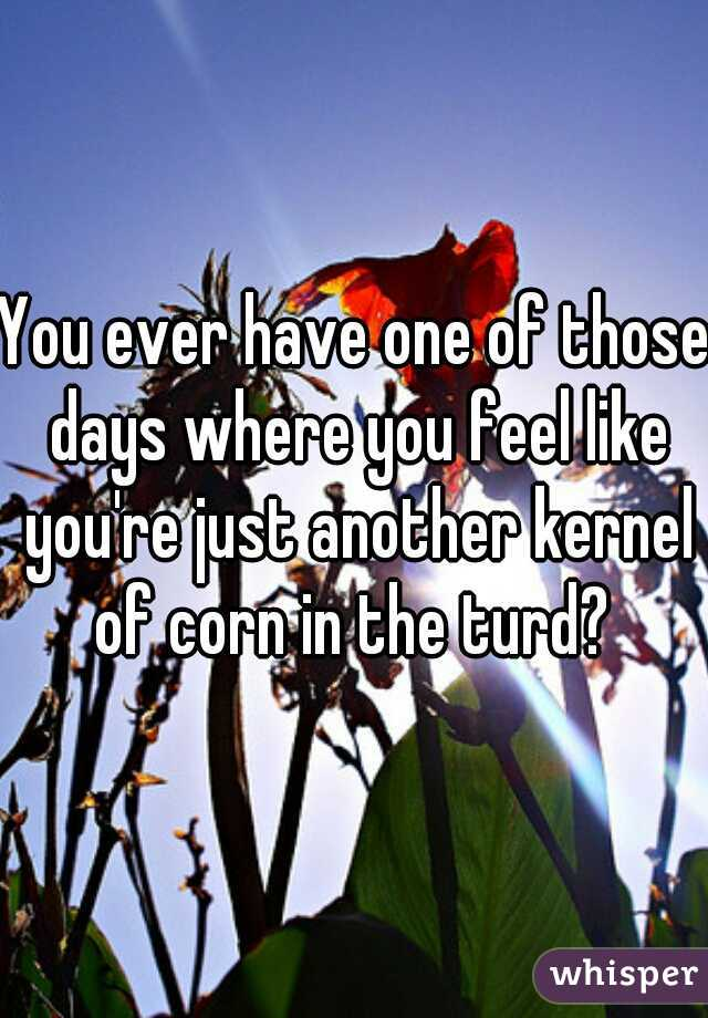 You ever have one of those days where you feel like you're just another kernel of corn in the turd?
