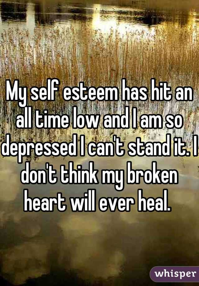 My self esteem has hit an all time low and I am so depressed I can't stand it. I don't think my broken heart will ever heal.