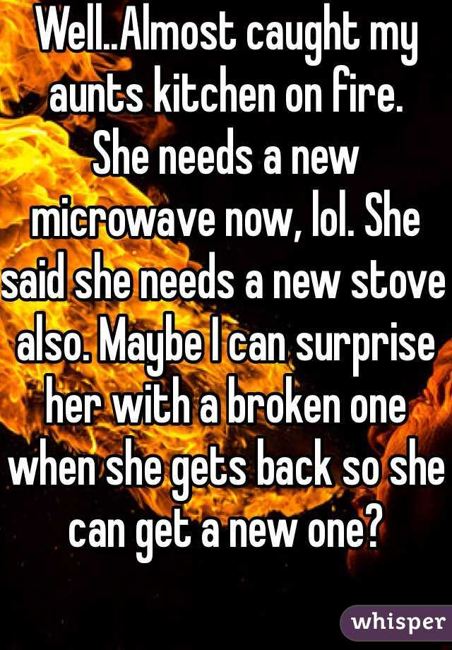 Well..Almost caught my aunts kitchen on fire. She needs a new microwave now, lol. She said she needs a new stove also. Maybe I can surprise her with a broken one when she gets back so she can get a new one?