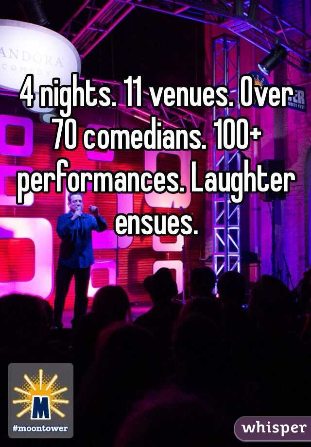 4 nights. 11 venues. Over 70 comedians. 100+ performances. Laughter ensues.
