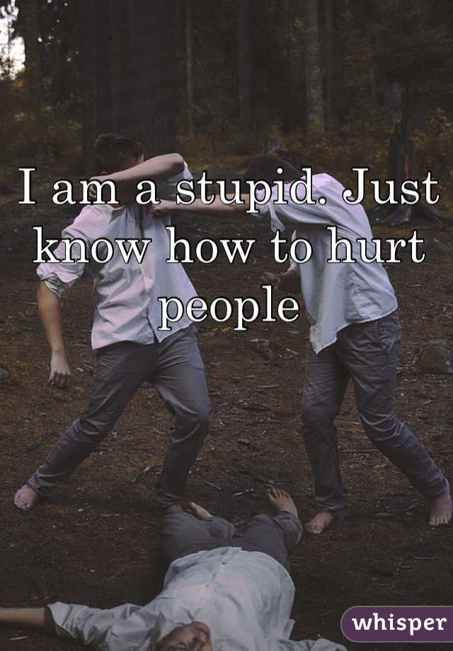 I am a stupid. Just know how to hurt people