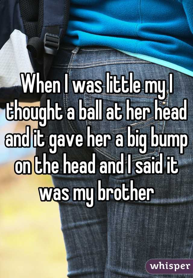 When I was little my I thought a ball at her head and it gave her a big bump on the head and I said it was my brother