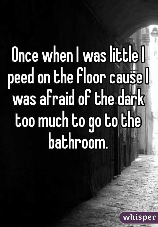Once when I was little I peed on the floor cause I was afraid of the dark too much to go to the bathroom.