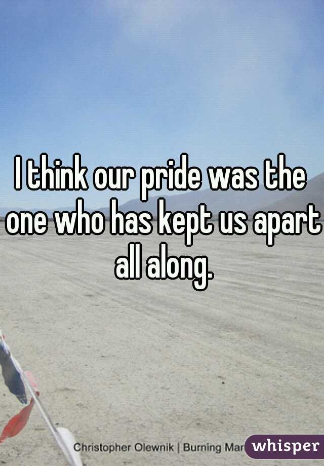 I think our pride was the one who has kept us apart all along.