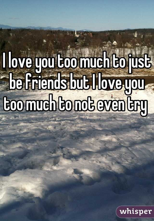 I love you too much to just be friends but I love you too much to not even try