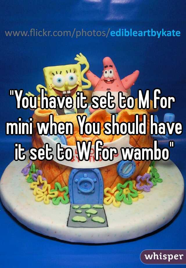 """You have it set to M for mini when You should have it set to W for wambo"""