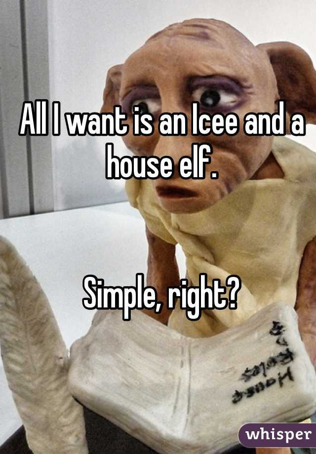 All I want is an Icee and a house elf.   Simple, right?