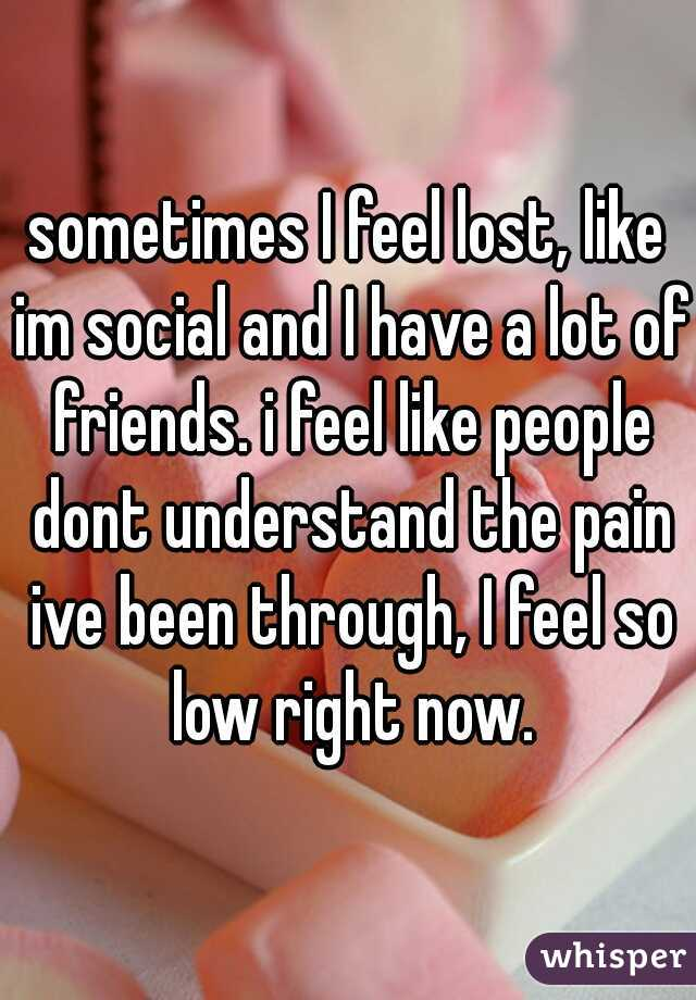 sometimes I feel lost, like im social and I have a lot of friends. i feel like people dont understand the pain ive been through, I feel so low right now.