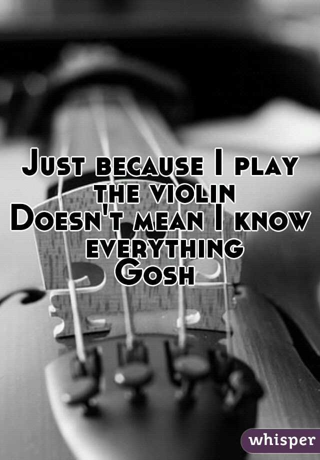 Just because I play the violin Doesn't mean I know everything  Gosh