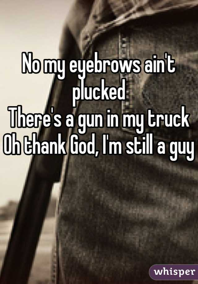 No my eyebrows ain't plucked There's a gun in my truck Oh thank God, I'm still a guy