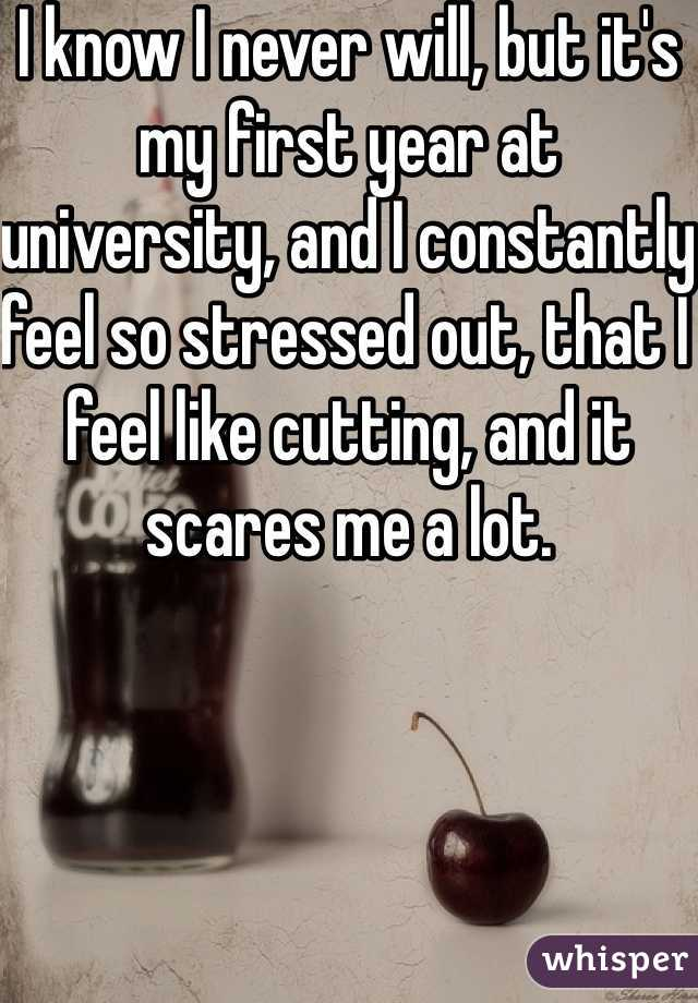 I know I never will, but it's my first year at university, and I constantly feel so stressed out, that I feel like cutting, and it scares me a lot.