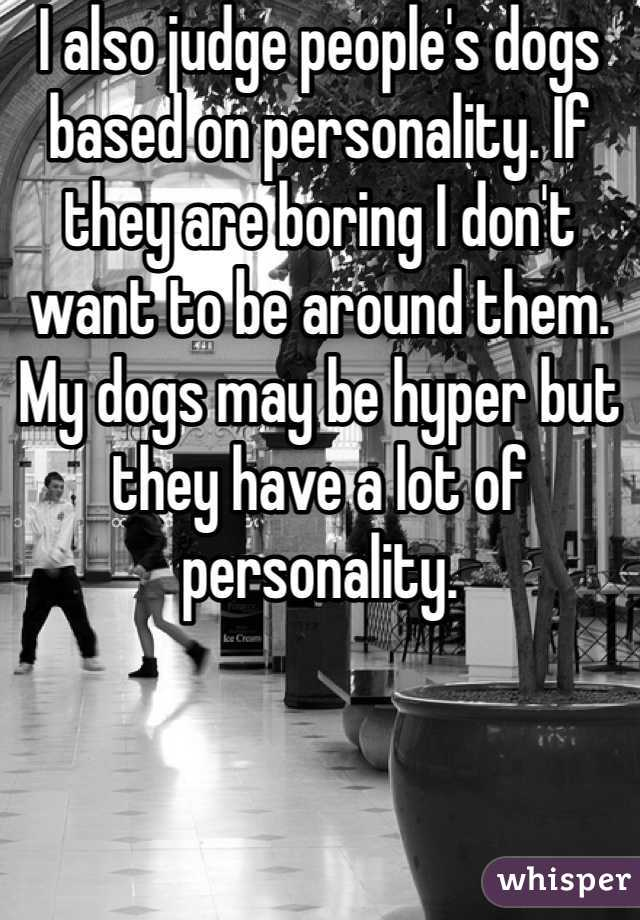 I also judge people's dogs based on personality. If they are boring I don't want to be around them. My dogs may be hyper but they have a lot of personality.