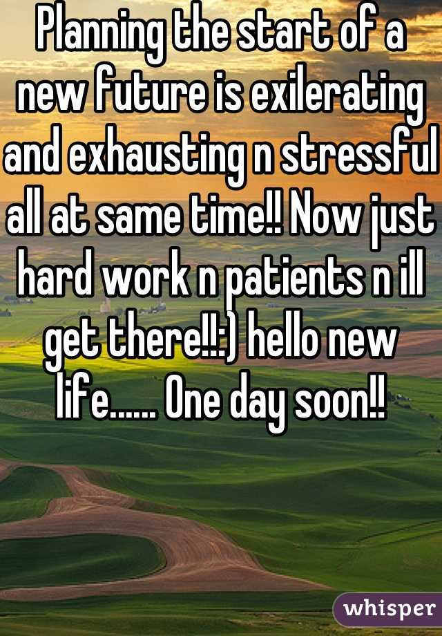 Planning the start of a new future is exilerating and exhausting n stressful all at same time!! Now just hard work n patients n ill get there!!:) hello new life...... One day soon!!