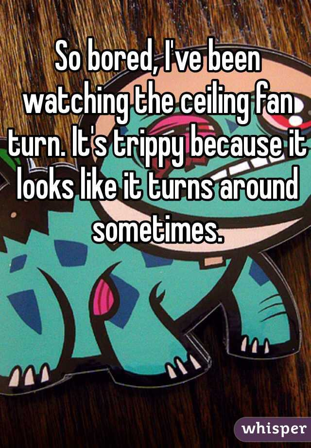 So bored, I've been watching the ceiling fan turn. It's trippy because it looks like it turns around sometimes.