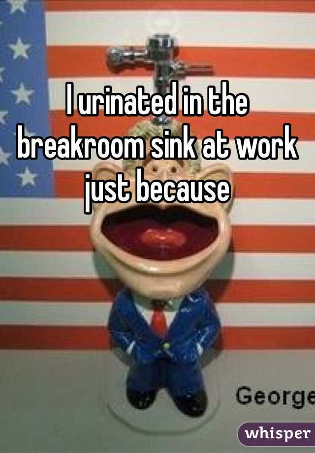 I urinated in the  breakroom sink at work just because